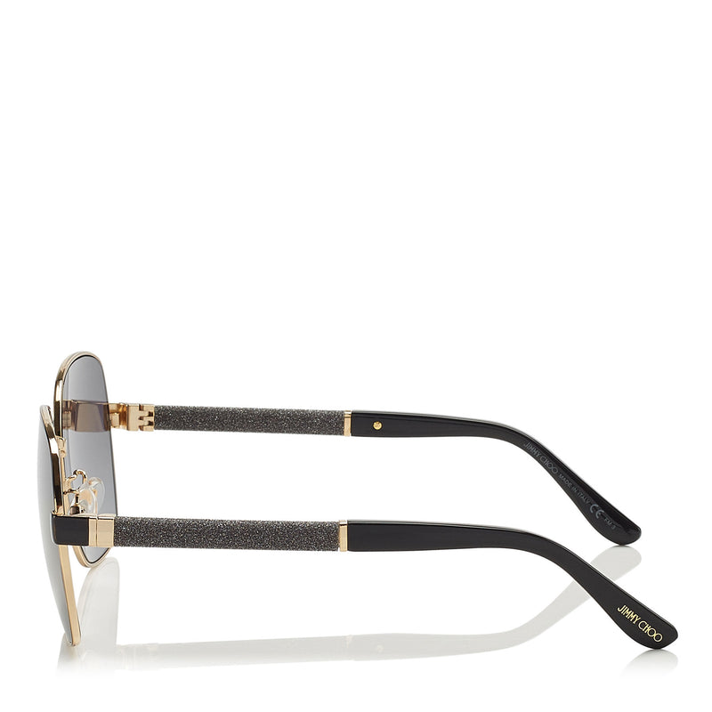 JIMMY CHOO Sia Black Geometrical Sunglasses with Crystal Powder Fabric ITEM NO. SIAFS61EAE2