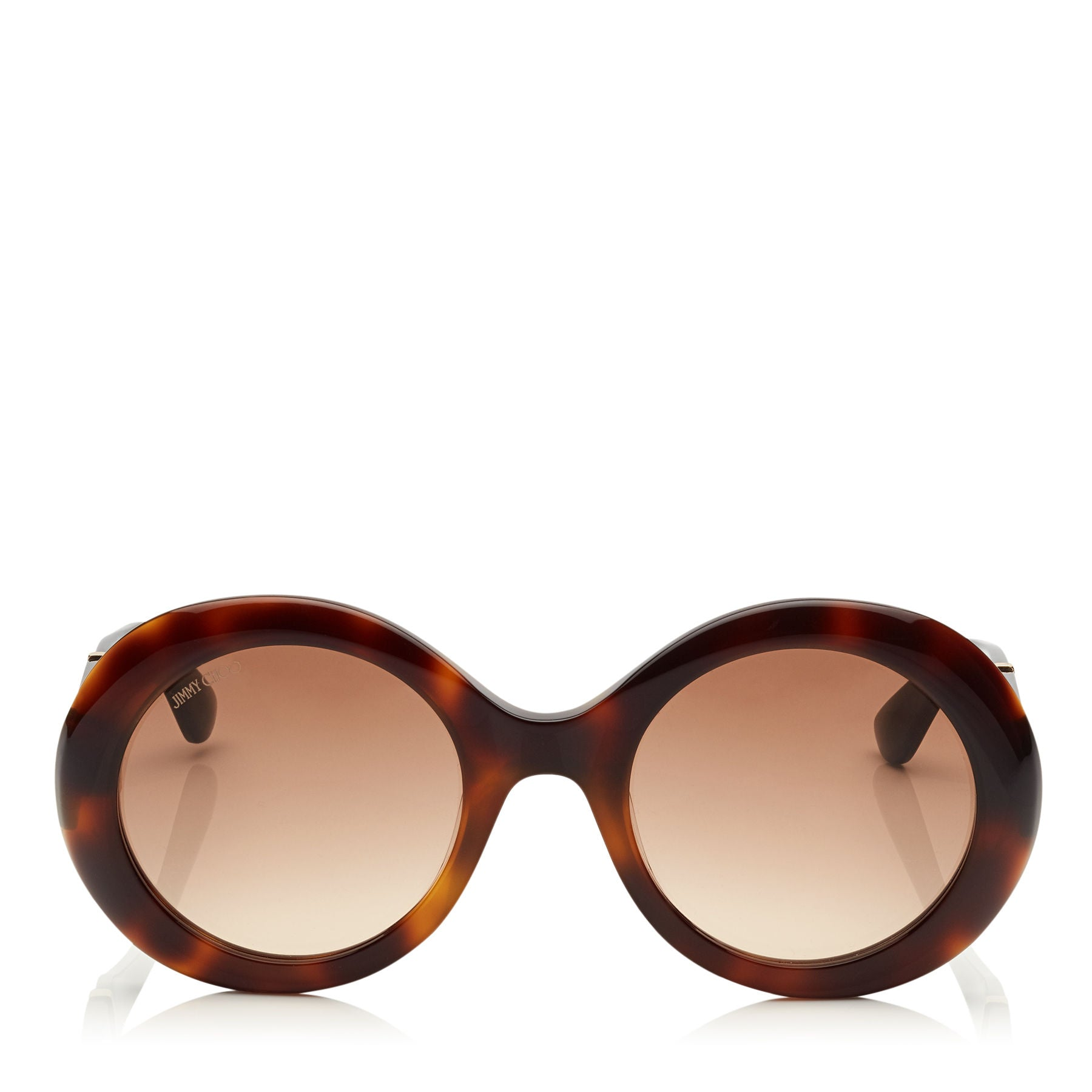 JIMMY CHOO Wendy Havana Round Sunglasses with Lurex Detailing ITEM NO. WENDYS51E16Y