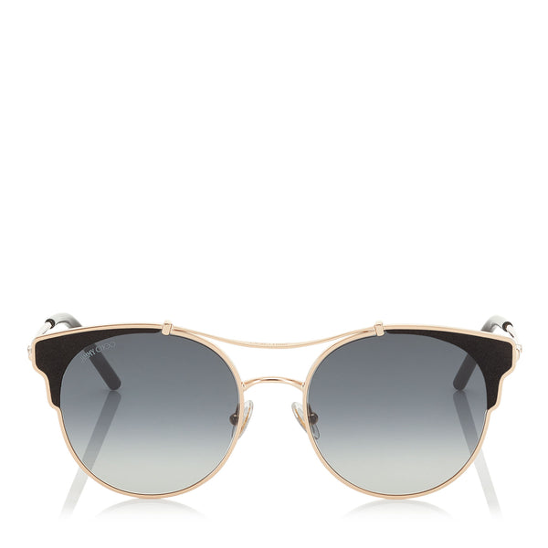 JIMMY CHOO Lue Copper Gold Metal Cat-Eye Sunglasses with Black Leather Detailing ITEM NO. LUES59ERHL