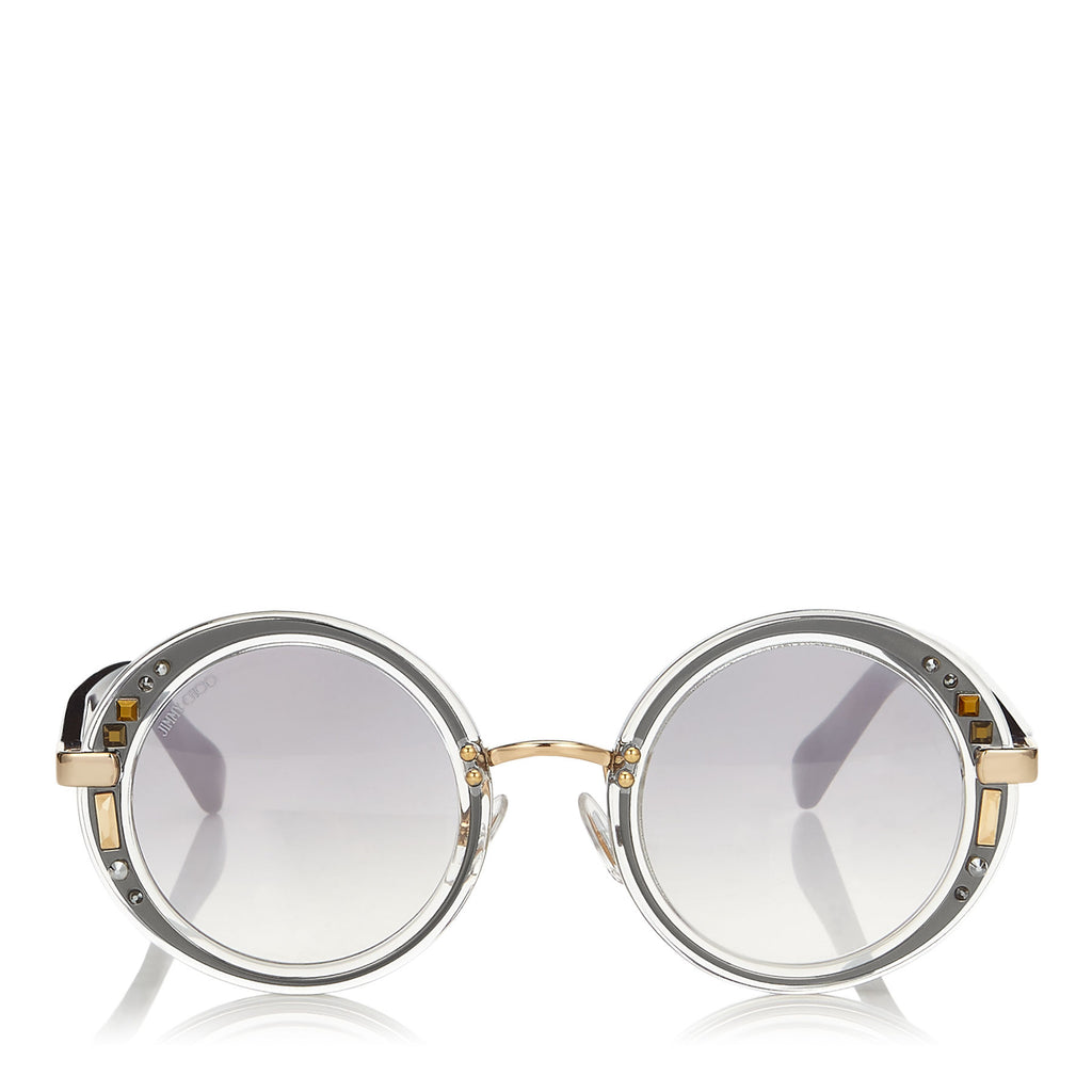 JIMMY CHOO Gem Transparent Round Framed Sunglasses with Swarovski Crystals ITEM NO. GEMS48E16U