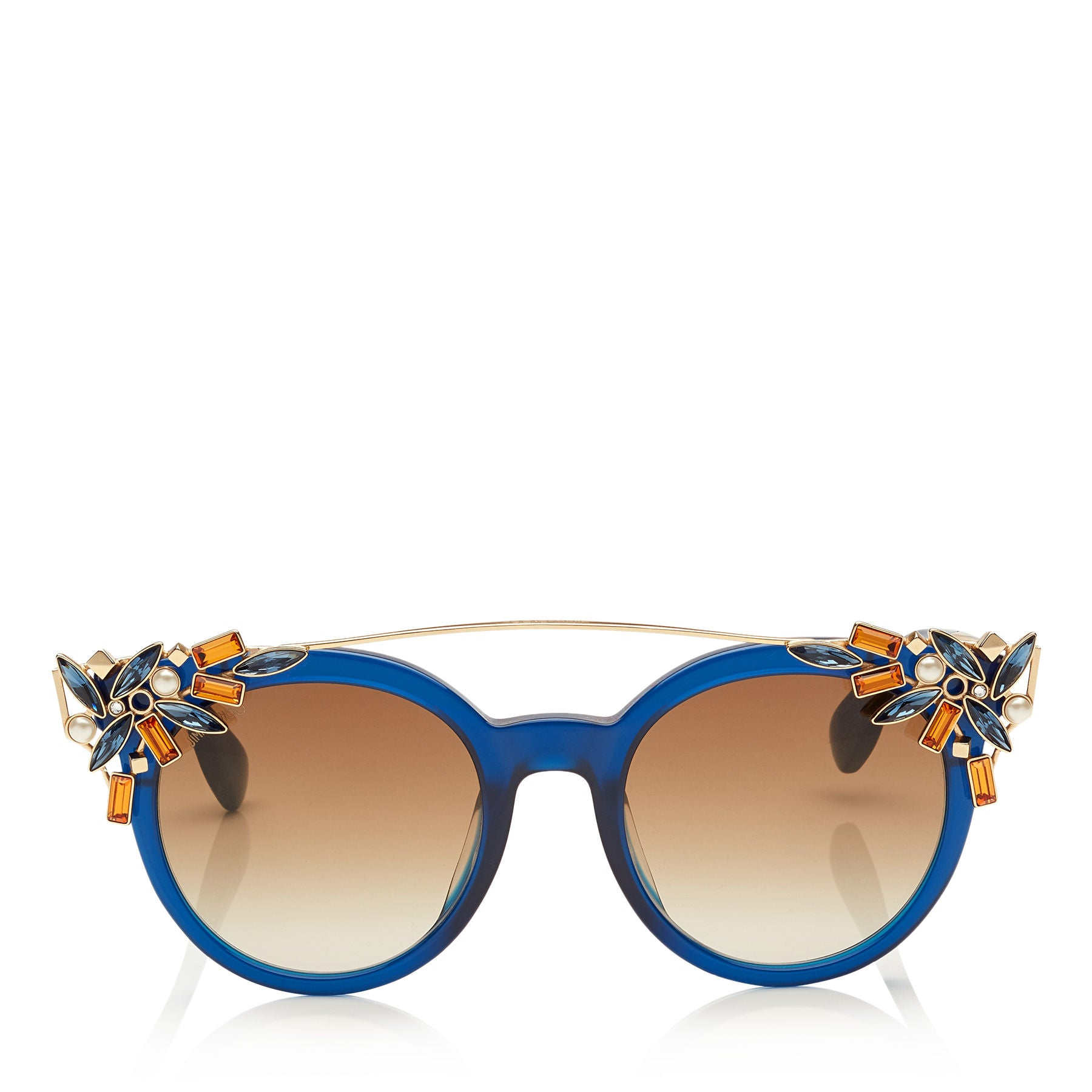 JIMMY CHOO Vivy Blue and Gold Round Framed Sunglasses with Detachable Jewel Clip On ITEM NO. VIVYS51E1UN