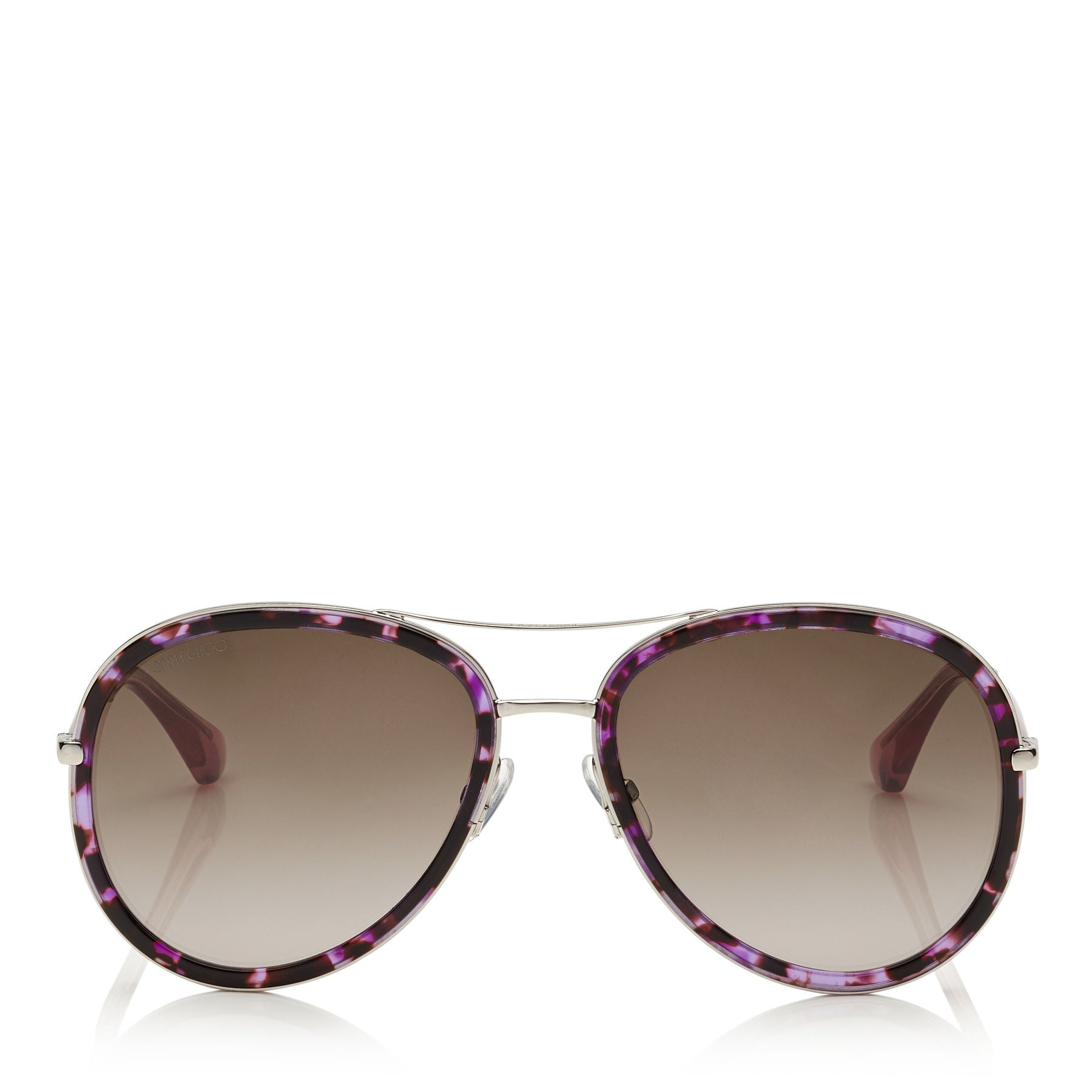 JIMMY CHOO Tora Havana and Violet Aviator Sunglasses ITEM NO. TORAS57E1LP
