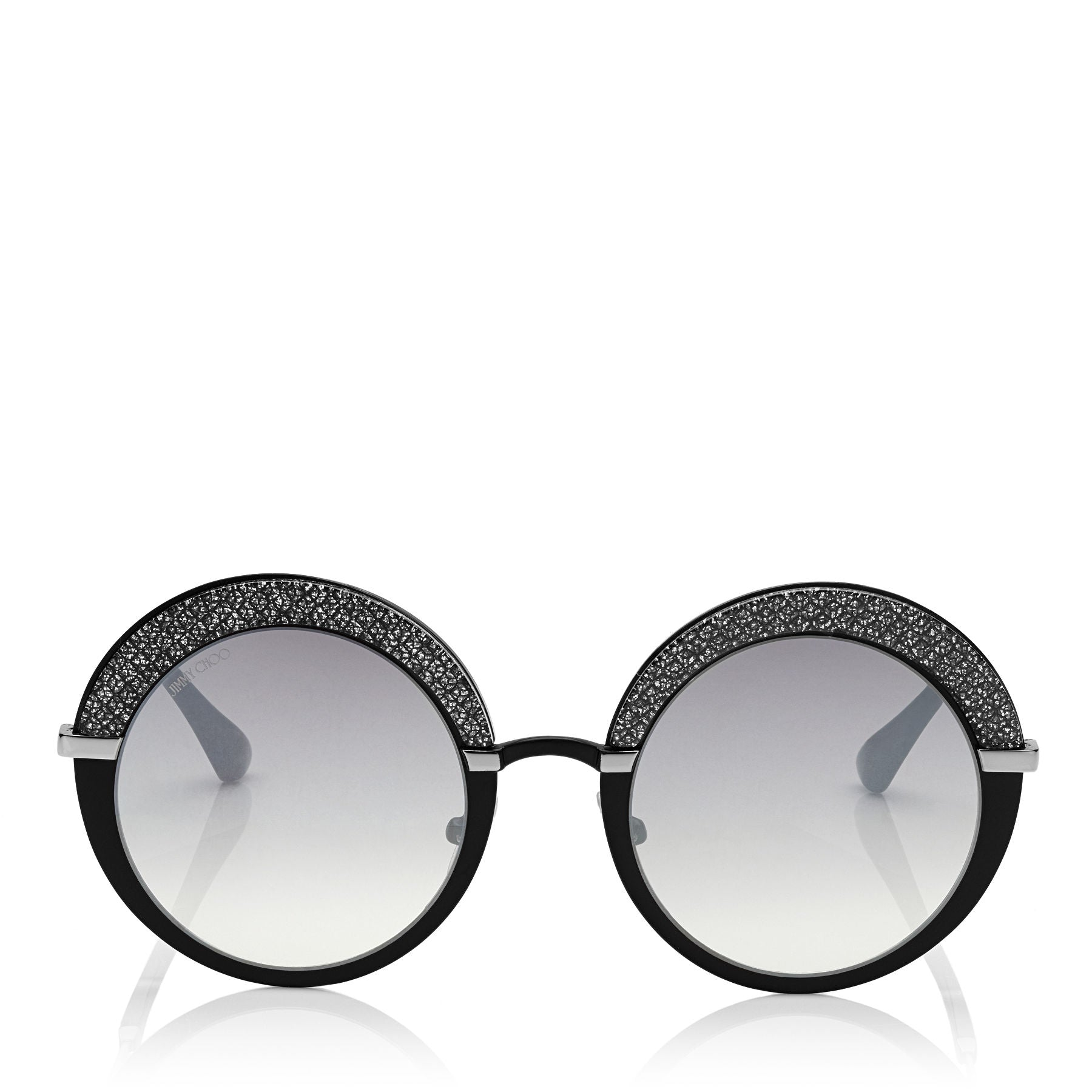JIMMY CHOO Gotha Black Palladium and Glitter Round Framed Sunglasses ITEM NO. GOTHAS50EIXA