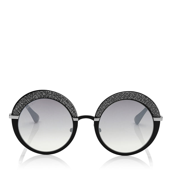 c49d132831e JIMMY CHOO Gotha Black Palladium and Glitter Round Framed Sunglasses ITEM NO.  GOTHAS50EIXA