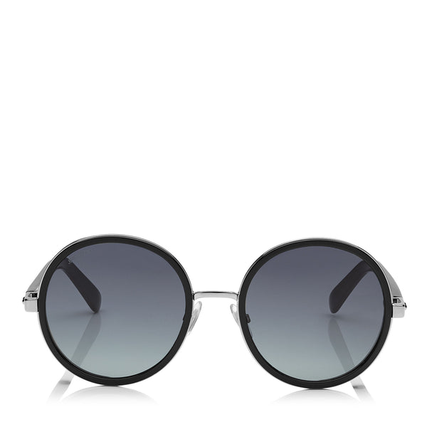 f2c744d7191 JIMMY CHOO Andie Black Acetate Round Framed Sunglasses with Silver Lurex  Detailing ITEM NO.