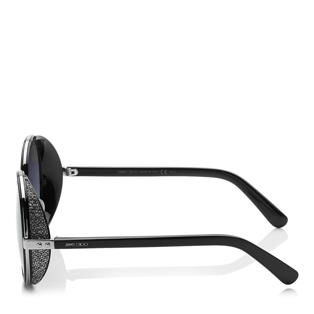 JIMMY CHOO Andie Black Acetate Round Framed Sunglasses with Silver Lurex Detailing ITEM NO. ANDIENS54EB1A