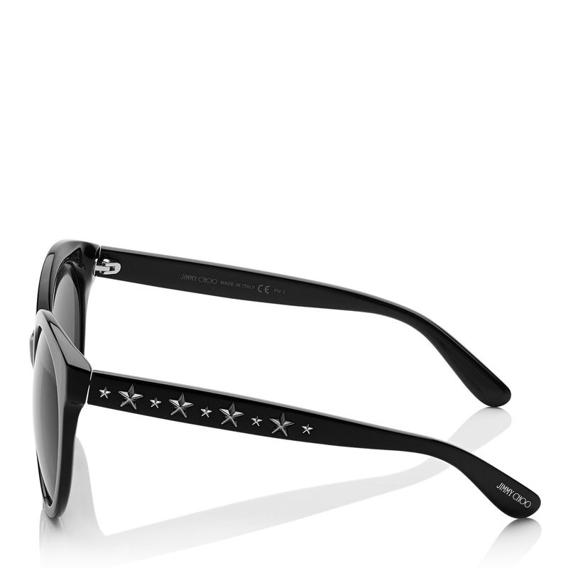 JIMMY CHOO Astar Black Oversized Sunglasses with Star Stud Detailing ITEM NO. ASTARFS54E807