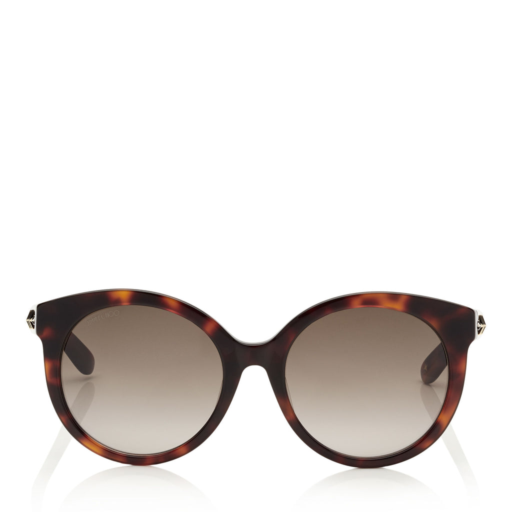 JIMMY CHOO Astar Dark Havana Oversized Sunglasses with Gold Star Detailing ITEM NO. ASTARFS54E086