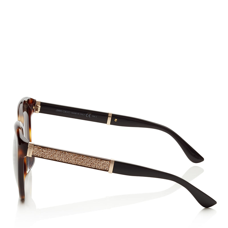 JIMMY CHOO Glee Havana and Black Cat Eye Sunglasses with Gold Lurex Detailing ITEM NO. GLEEFS57E16Y