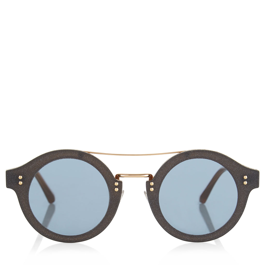 JIMMY CHOO Montie Nude Acetate Round Framed Sunglasses with Gold Glitter Fabric ITEM NO. MONTIES64E18Q