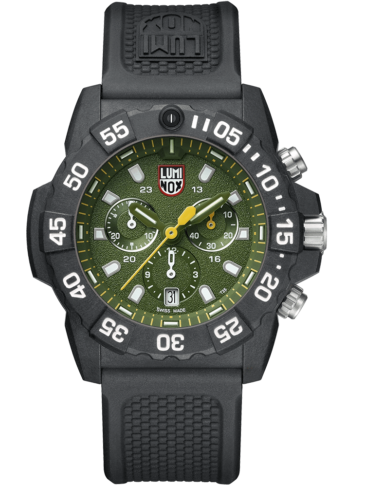 Luminox 3597 Navy SEAL Chronograph Green Dial Black Rubber Strap Watch