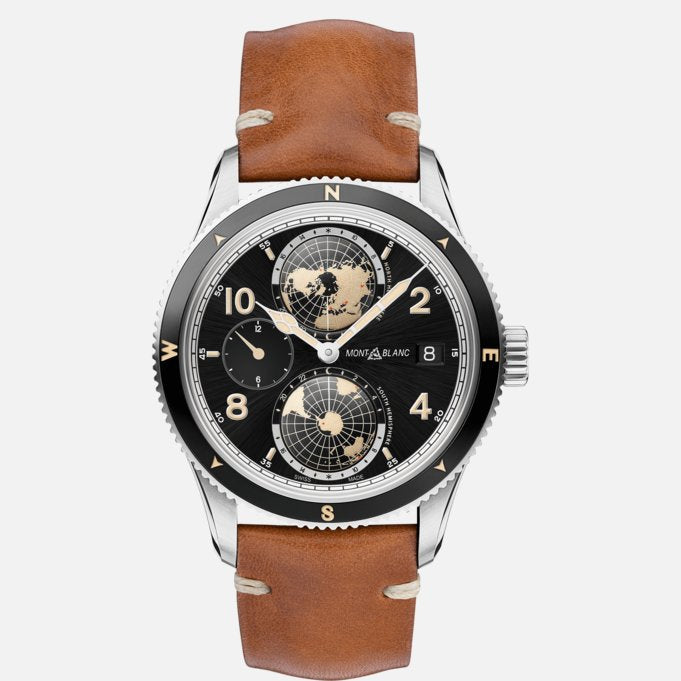 Montblanc MB119286 Geosphere 1858 Brown Leather Strap Automatic Watch Ref. 119286