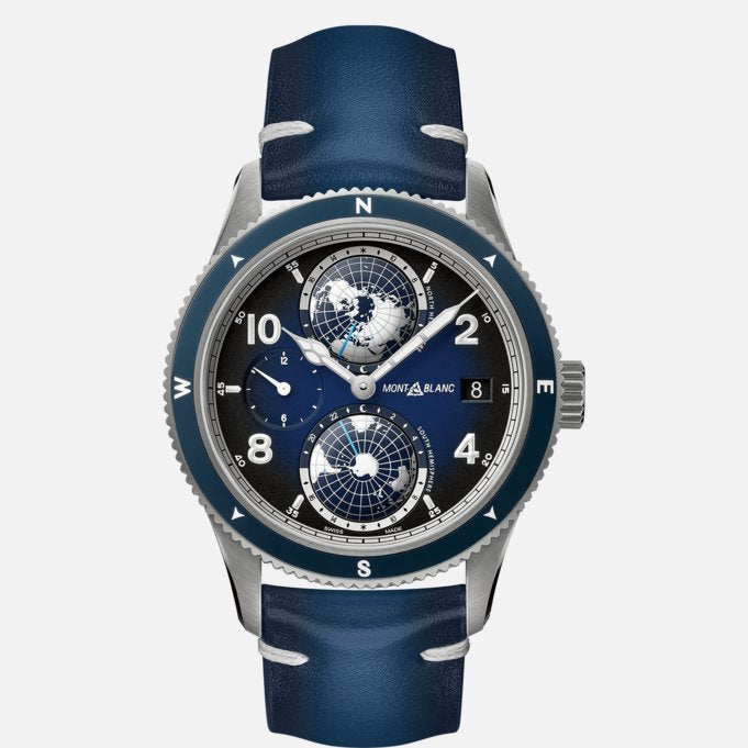Montblanc 1858 Geosphere Blue Dial 42mm Case Titanium Blue Leather Men's Watch Ref. No. 125565