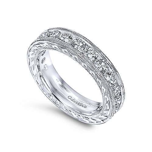 Vintage 14k White Gold Hand Engraved Channel Set Eternity Band  AN5280-6W44JJ