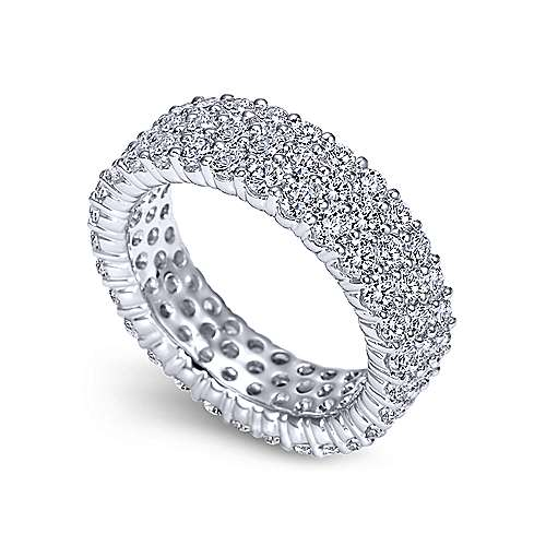 14k White Gold Diamond Pav Eternity Band  AN6026-6W44JJ