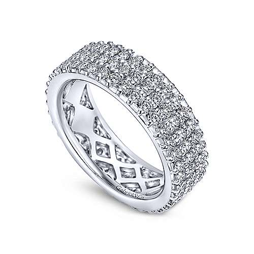 14k White Gold 3 Row Pav Diamond Eternity Band  AN6029-6W44JJ