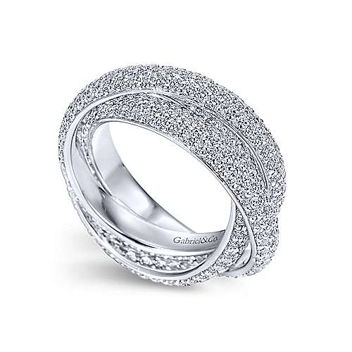 14k White Gold Multi Row Prong Set Diamond Eternity Band  AN6034-6W44JJ