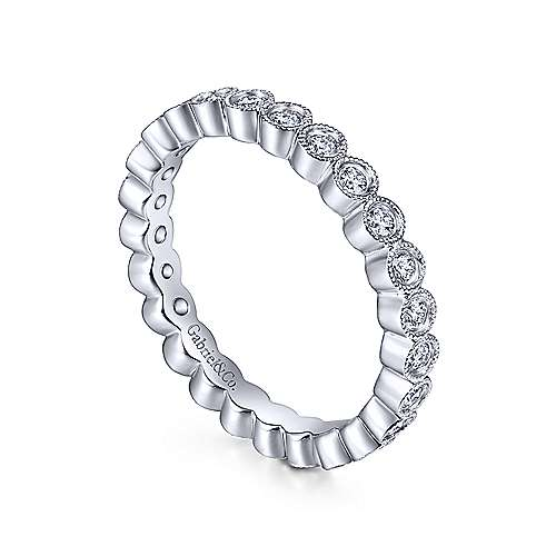Vintage 14k White Gold Bezel Set Diamond Eternity Band  AN6036-6W44JJ