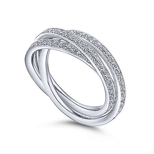 14k White Gold 3 Row Micro Pav Eternity Band  AN6039-6W44JJ