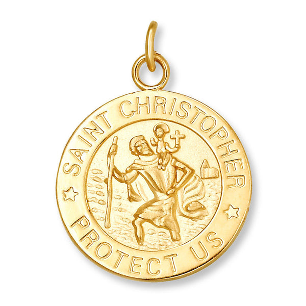 St Christopher 14k Solid Yellow Gold 1.8 Grams Protect Us Pendant Charm Saint