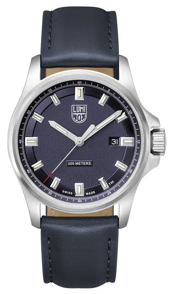 Luminox 1834 Mens Dress Field (42mm) Blue Leather Watch