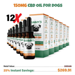 Bailey's Full Spectrum Hemp Oil For Dogs w/ 150MG Naturally Occurring CBD - thehemphaus