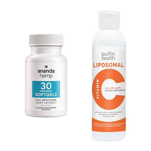 Ananda Hemp 30 ct CBD Softgels & Puffin Health Liposomal Vitamin C - thehemphaus