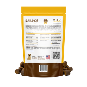 Bailey's Peanut Butter & Banana Yummies! Large Breed Extra Strength 30 Count Bag w/ 6MG CBD Per Chew - thehemphaus