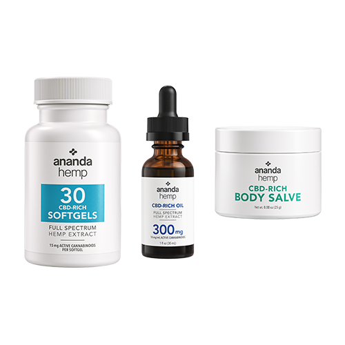 Ananda Hemp 30 CT CBD Softgels, Ananda Hemp 300mg Tincture & Ananda Hemp Spectrum Salve 125mg - thehemphaus