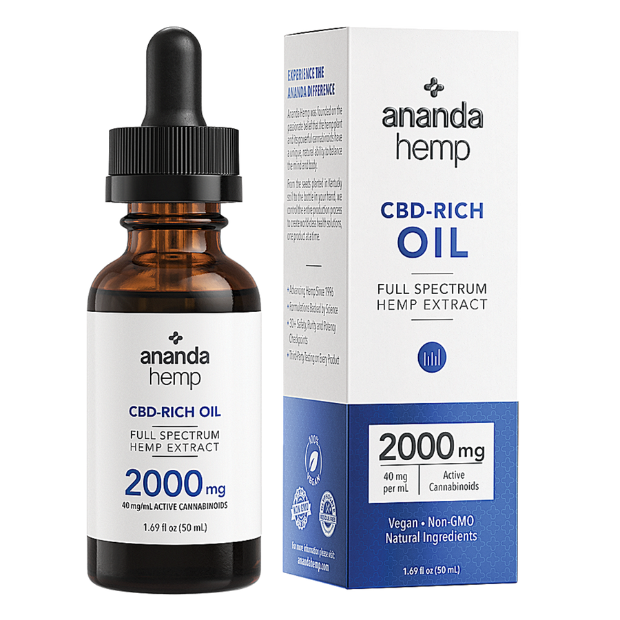 The front box and glass bottle of the Ananda Hemp Full Spectrum 2000 CBD Rich Hemp Oil with 2000mg of active cannabinoids, per 50mL bottle, 40mg active cannabinoids per serving. Serving size: 1mL (1 dropperful). - thehemphaus