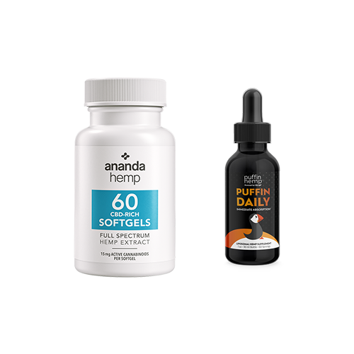 The ultimate combination...Full Spectrum CBD softgels and liposomal CBD tincture. It doesn't get any better than this!  Try ananda Hemp full spectrum CBD soft gels 60 count and Puffin Daily Liposomal CBD 1 ounce glass bottle together and experience the results everyone is talking about.  This bundle combo may help reduce pain, increase REM sleep and reduce anxiety. - thehemphaus