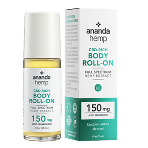 The front box and jar of the Ananda Hemp Full Spectrum CBD Topical Roll on muscle rub with 150mg of active cannabinoids per 1 ounce container. - thehemphaus