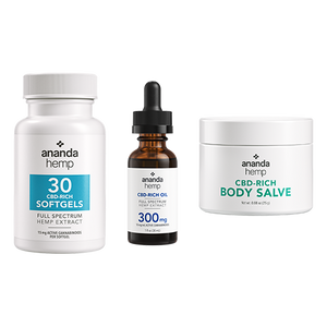 Ananda Hemp Starter Kit: Ananda Hemp CBD Softgels 30 Ct, Ananda Hemp 300 CBD Oil, and Ananda Hemp Spectrum Salve 125mg - thehemphaus