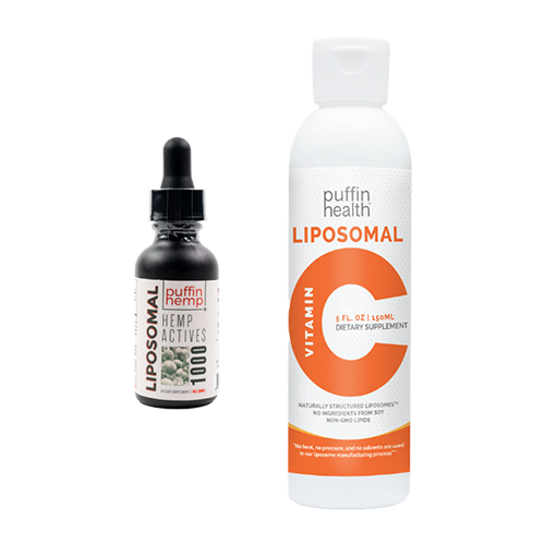 Puffin Hemp Liposomal Hemp Actives 1000 + Puffin Health Liposomal Vitamin C Bundle - thehemphaus