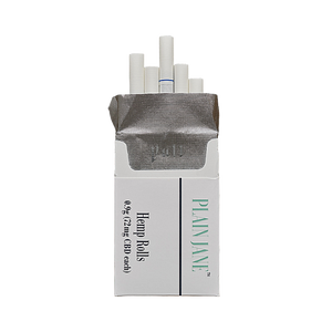 "One white box of 20 Plain Jane Hemp Rolled CBD Cigarettes with 0.9 mg (72mg CBD in each cigarette).  These are low odor Hemp cigarettes containing smooth, all-natural Oregon hemp with hand-selected Elektra, Lifter, and Sour Space Candy CBD hemp flower strains for an exquisite flavor blend. Unlike the Full Flavor Plain Jane Pre Rolls, these hemp prerolls are processed to remove the ""hemp smell."" This unique process provides the ultimate discreet smoke with a nicotine-free experience.  - thehemphaus"