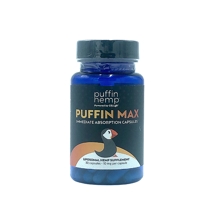 Puffin Max Liposomal CBD Capsules in a blue bottle. 30 capsules. 10 mg per liposomal CBD capsule. total of 300mg of liposome CBD. Puffin Hemp is one of the only products on the market that has completed and published human clinical trials proving safety and efficacy.  - thehemphaus
