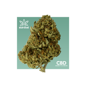 This is Suver Haze CBD Flower bud with teal background is grown in a light assisted green house. Stardust CBD hemp flower bud is packed with cannabinoids and terpenes to give it that beautiful look, smell, and taste just like the original. - thehemphaus