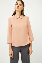 Load image into Gallery viewer, Bell Sleeve Peach Top with Peter Pan Collar
