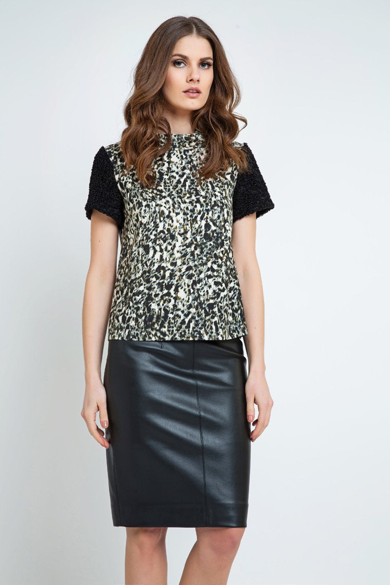 Straight Top with Animal Print Detail