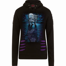 Load image into Gallery viewer, WILD SIDE - Large Hood Ripped Hoody Purple-Black