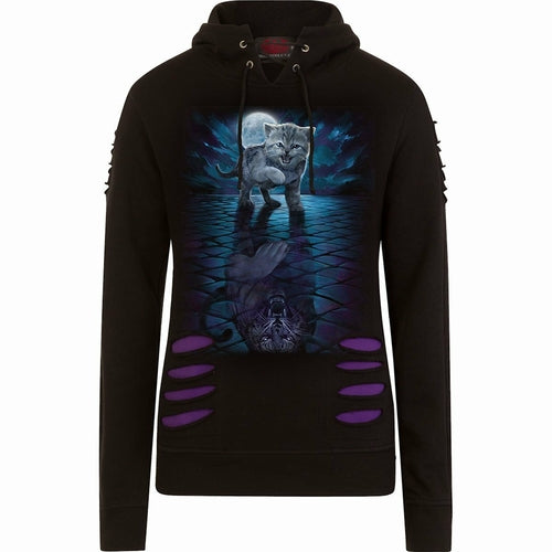 WILD SIDE - Large Hood Ripped Hoody Purple-Black