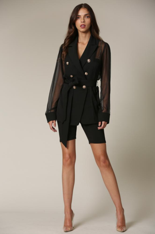 Leanne Chiffon Blazer Featuring a Notched Lapel Collar