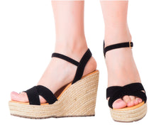 Load image into Gallery viewer, Espadrille Sandals Silvia Cobos CrissCross Black