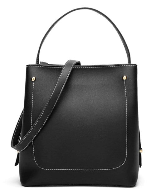 Womens Everyday Stylish Vegan Leather Bucket Bag