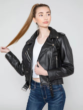 Load image into Gallery viewer, Women's Vegan Moto Style Faux Leather Jacket