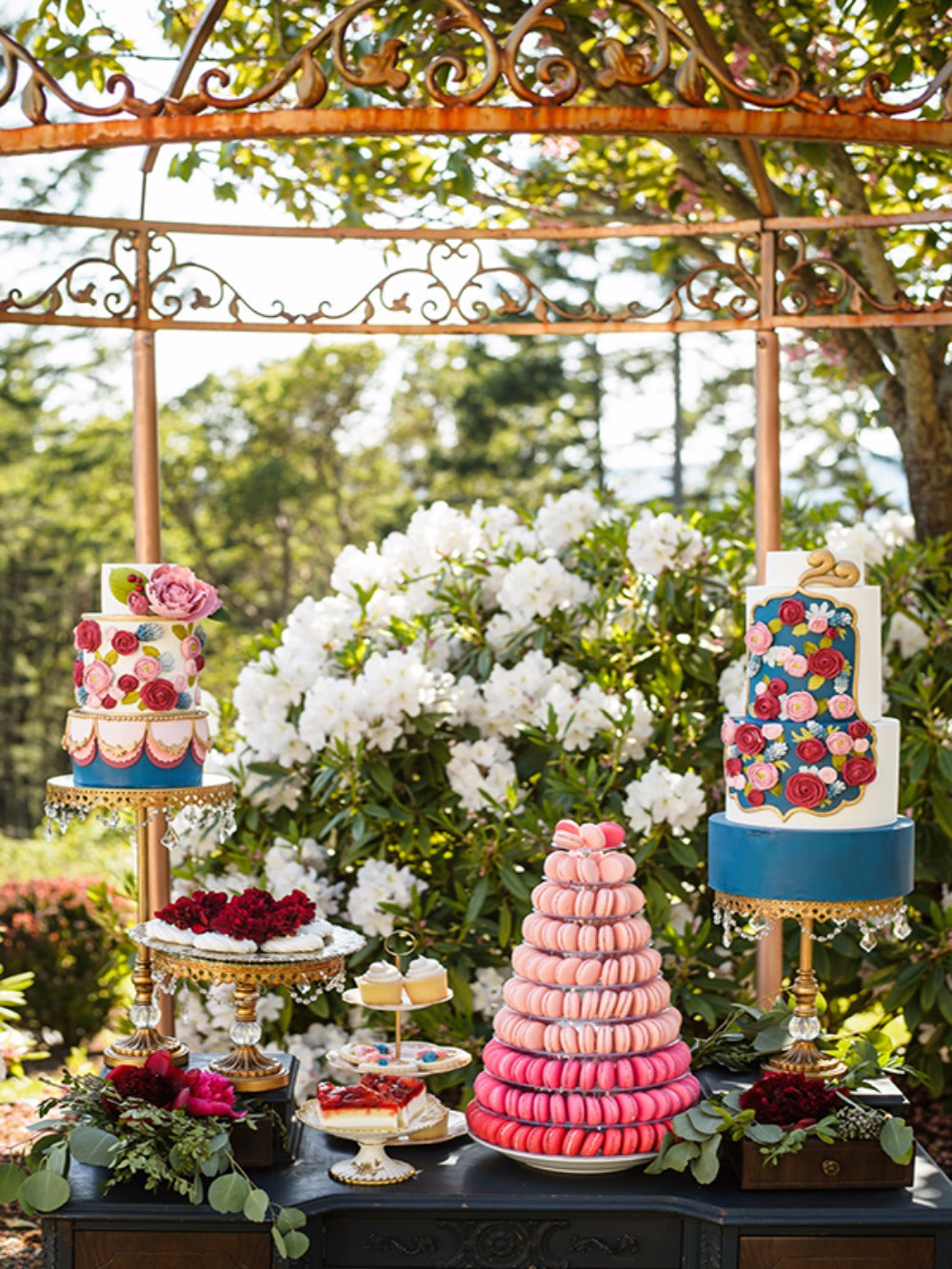colorful cakes and desserts gold cake stands outdoor dessert table