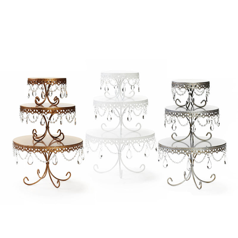 decorative cake stands with chandelier accents in white silver gold