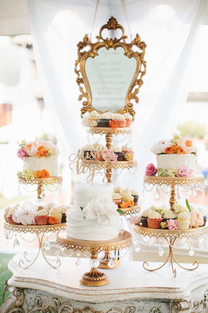 wedding cake and cupcake dessert styling set-up with