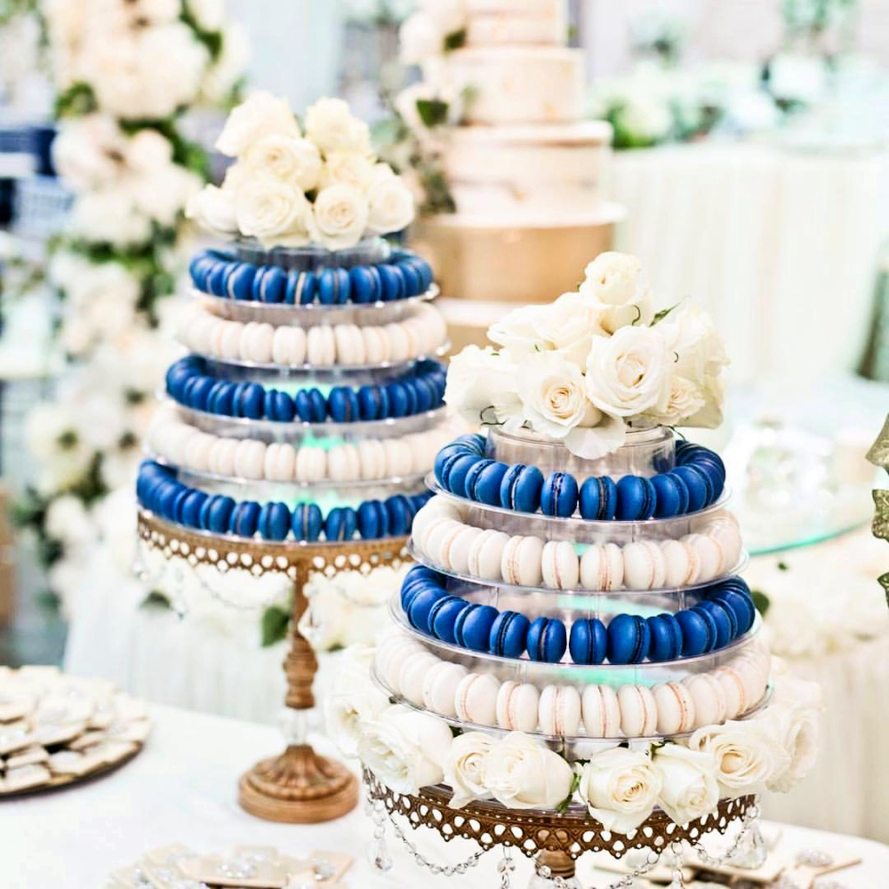 blue and white macaron tower on gold cake stand