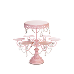 pink multi tier chandelier dessert stand by opulent treasures